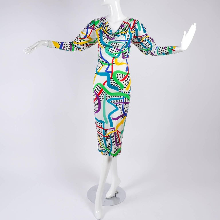 Gray New With Tags Vintage Missoni Dress in colorful abstract Silk w Draped Neckline  For Sale
