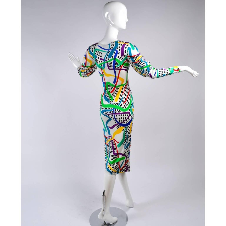 Women's New With Tags Vintage Missoni Dress in colorful abstract Silk w Draped Neckline  For Sale