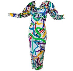 New With Tags Vintage Missoni Dress in colorful abstract Silk w Draped Neckline