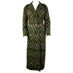 Vintage Missoni Green Striped Wool Blend Maxi Coat Jacket, Size 40