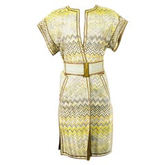 Vintage Missoni Multi Color Coat Cover Up Mini Dress w/ Belt Size 42