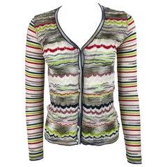 Vintage MISSONI Multicolored Striped Cardigan Top, Size 4