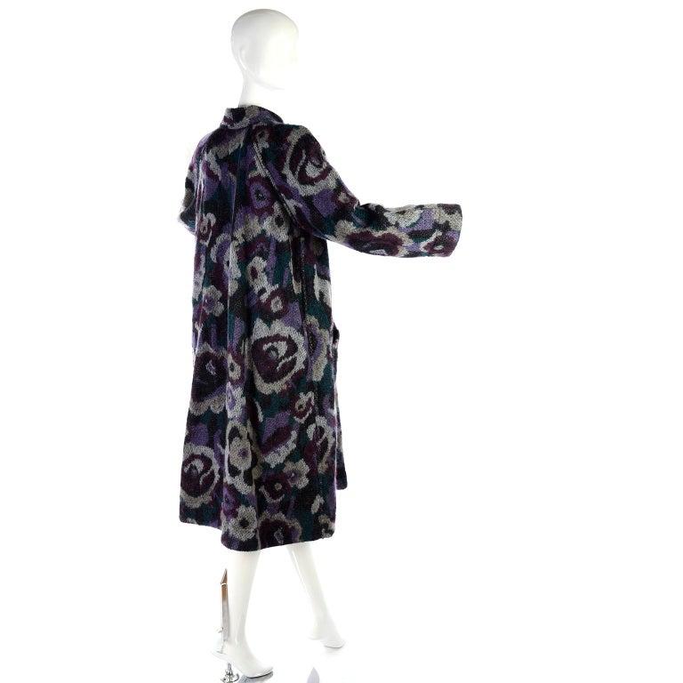 Vintage Missoni Reversible Floral Knit Mohair Alpaca Blend & Black Puffer  Coat For Sale 6