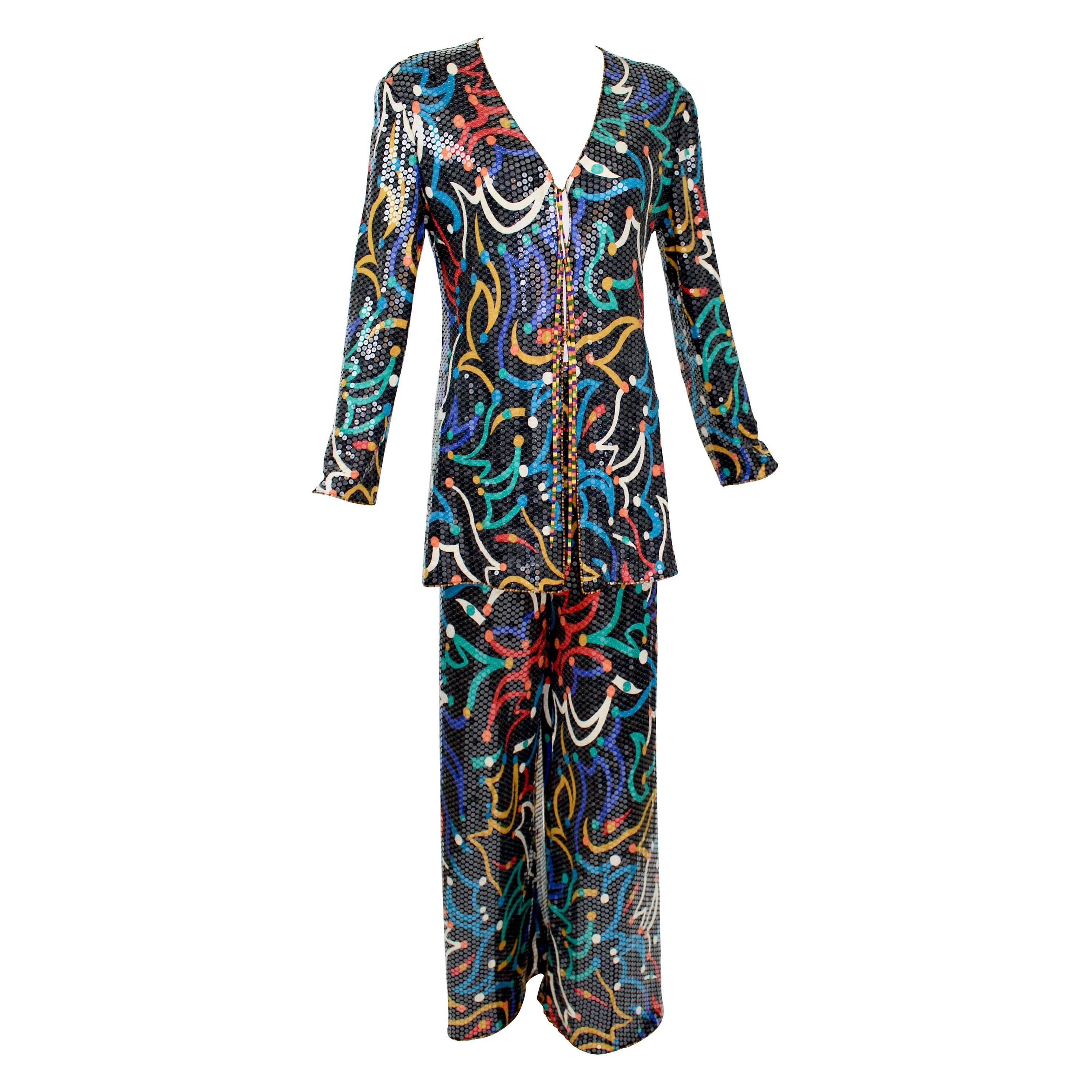 Vintage Missoni Shimmery Silk Jersey Colorful Print Sequin Top Pant Set