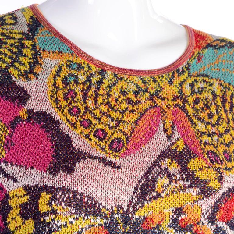 Women's Vintage Missoni Sweater or Mini Dress in Linen Cotton Blend Knit Butterfly Print For Sale