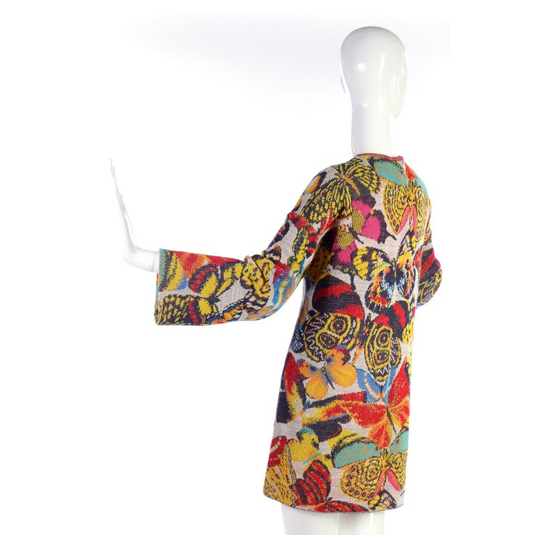 Vintage Missoni Sweater or Mini Dress in Linen Cotton Blend Knit Butterfly Print For Sale 1