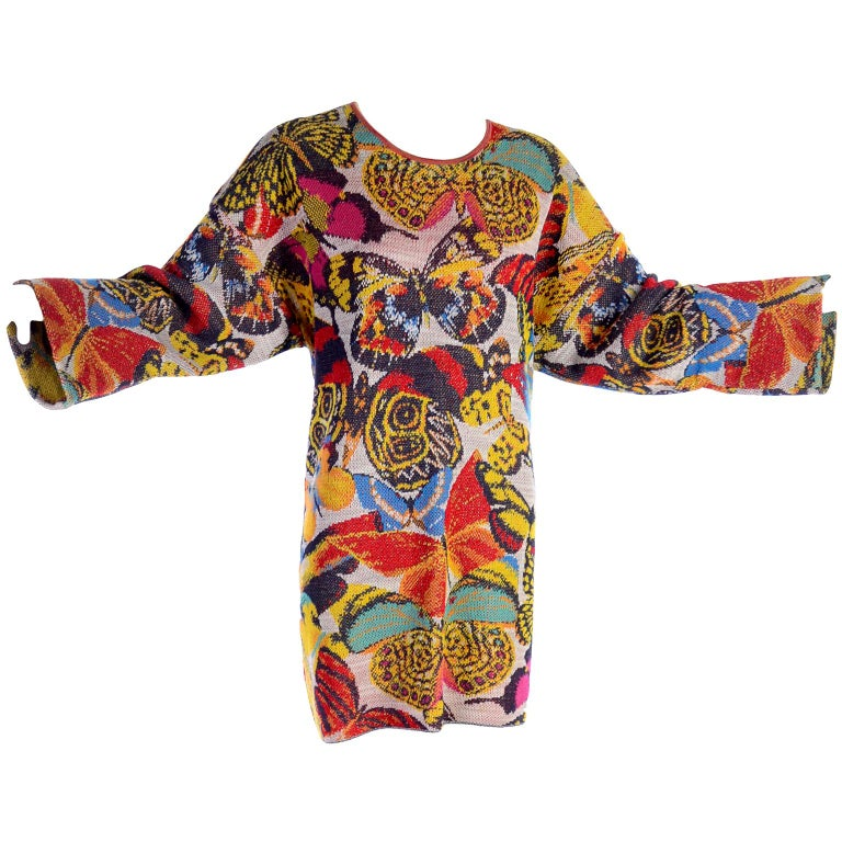 a3487d07251 Vintage Missoni Sweater or Mini Dress in Linen Cotton Blend Knit Butterfly  Print For Sale