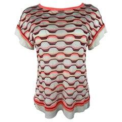 Vintage Missoni White and Orange T- Shirt Top