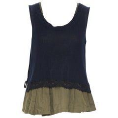 vintage MIU MIU 2010 black cotton knitted lace trimmed tiered babydoll top IT42