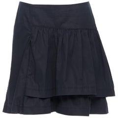 vintage MIU MIU black cotton pleated tiered flared knee skirt IT40