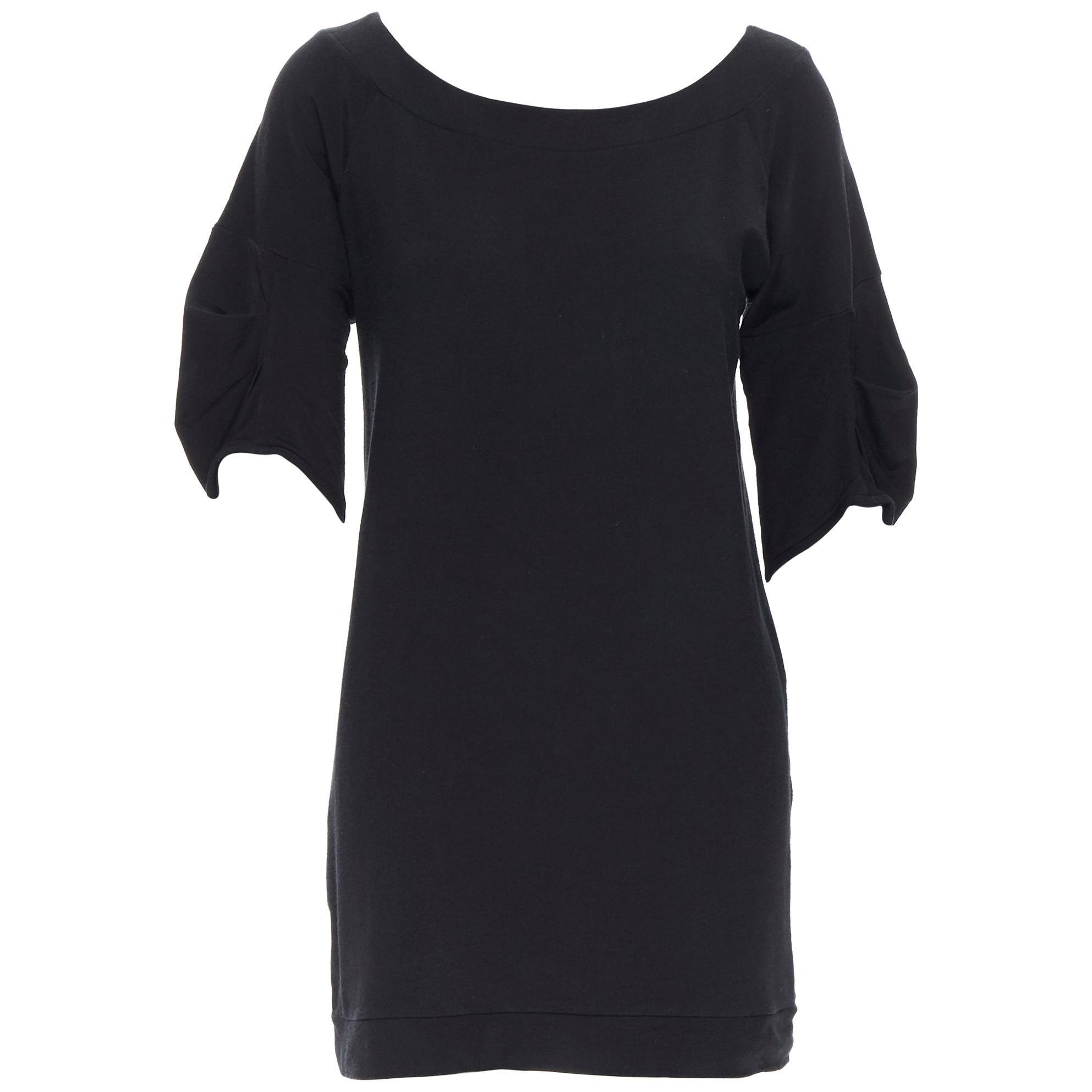 vintage MIU MIU black cotton round neck rounded pleated short sleeve dress M