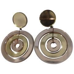 Vintage Miu Miu light yellow rose pendant clip on earrings