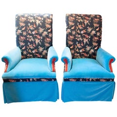 Vintage Mixed Fabric Armchairs, a Pair