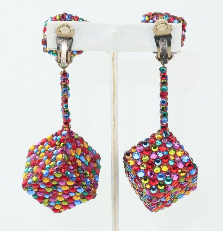 Modern Vintage Mod Pave Crystal Cube Dangle Earrings