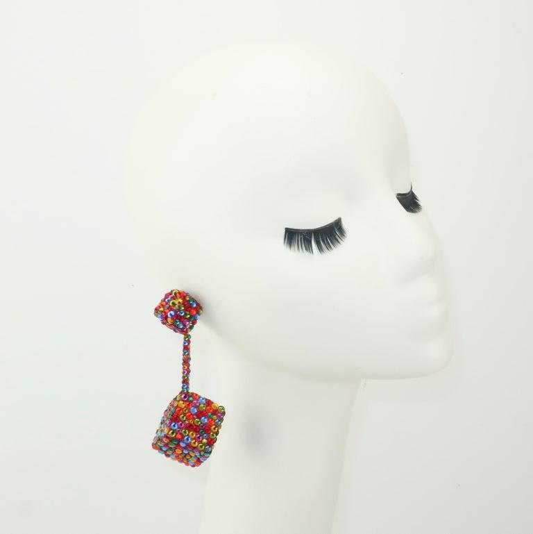 Vintage Mod Pave Crystal Cube Dangle Earrings In Fair Condition In Atlanta, GA