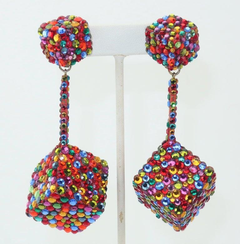Women's Vintage Mod Pave Crystal Cube Dangle Earrings