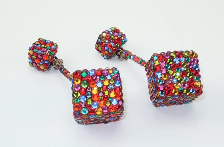 Vintage Mod Pave Crystal Cube Dangle Earrings 1