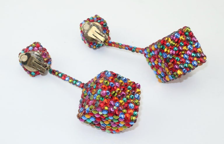 Vintage Mod Pave Crystal Cube Dangle Earrings 2