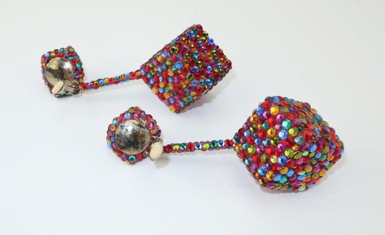 Vintage Mod Pave Crystal Cube Dangle Earrings 3