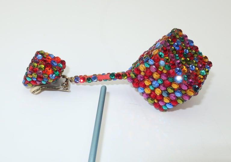 Vintage Mod Pave Crystal Cube Dangle Earrings 4