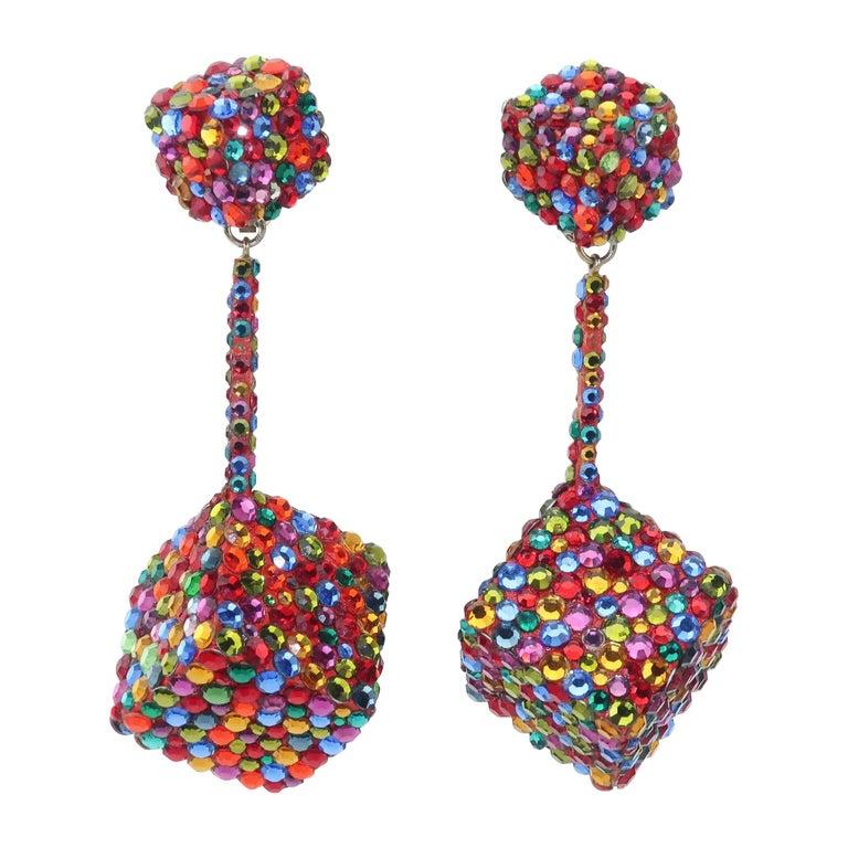 Vintage Mod Pave Crystal Cube Dangle Earrings
