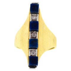 Vintage Modern 18 Karat Yellow Gold Diamond Lapis Architectural Ring