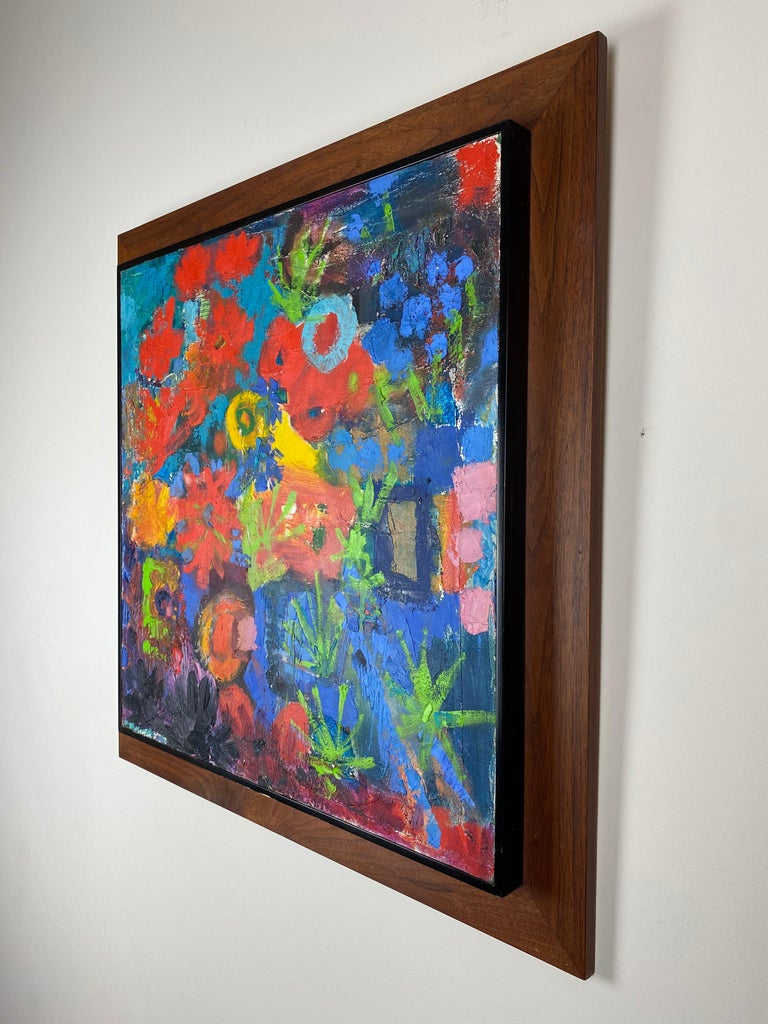 Vivid color and wonderful compositions to this abstract painting. Contrasting colors and abstract arrangement with a fine walnut frame.