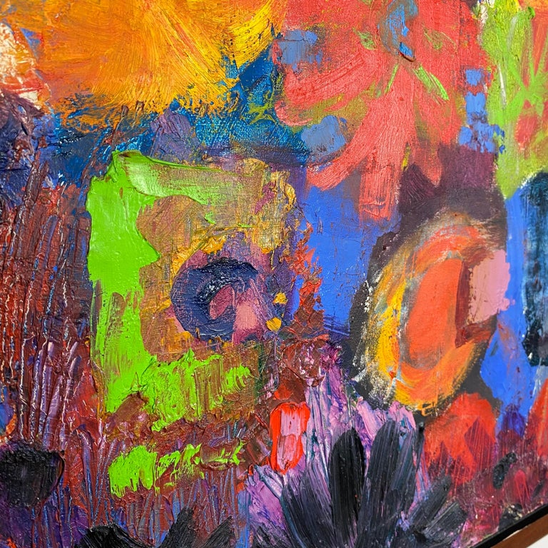 Mid-Century Modern Vintage Modern Abstract Expressionist Floral Still-Life Painting For Sale