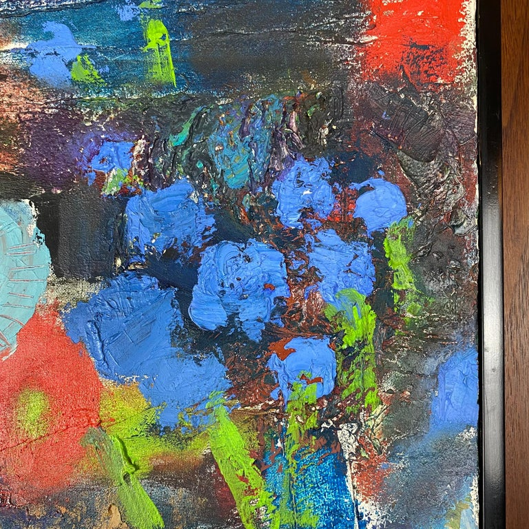 Unknown Vintage Modern Abstract Expressionist Floral Still-Life Painting For Sale