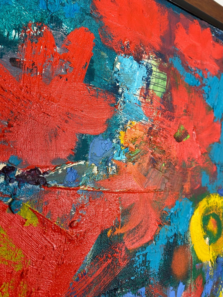 20th Century Vintage Modern Abstract Expressionist Floral Still-Life Painting For Sale