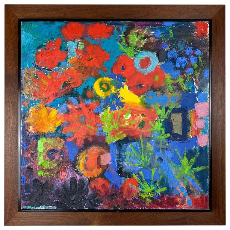 Vintage Modern Abstract Expressionist Floral Still-Life Painting For Sale