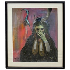 Vintage Modern Abstract Oil 'Sorrow' Painting of Woman Crying by R. Macleod