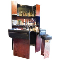 Vintage Modern Antiques Bar Cabinet with Counter and Stool, Italy, 1980s