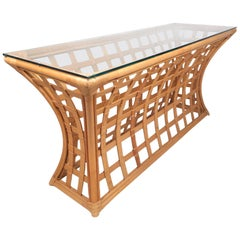Vintage Modern Bamboo and Glass Console Table
