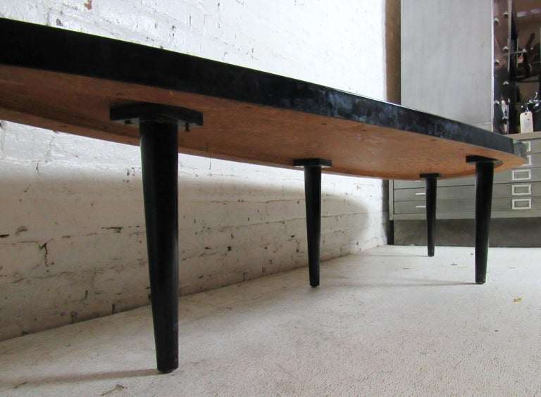 Mid-20th Century Vintage Modern Black Laminate Coffee Table For Sale