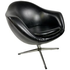 Vintage Modern Black Overman Swivel Pod Chair