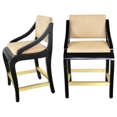 Vintage Modern Black Painted Brass & Upholstered Counter Height Bar Stools, Pair