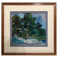 Vintage Modern Boat Painting on Glass