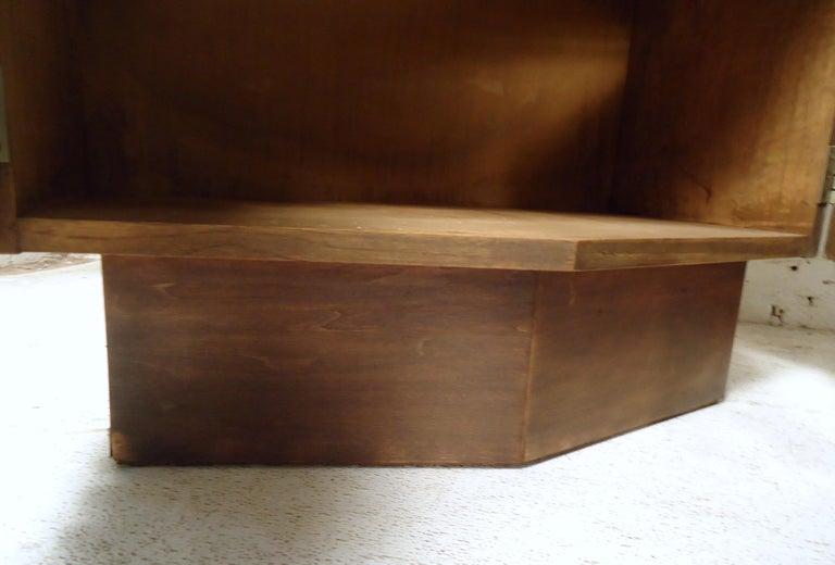 Wood Vintage Modern Bowed Front Nightstands For Sale