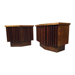 Vintage Modern Bowed Front Nightstands