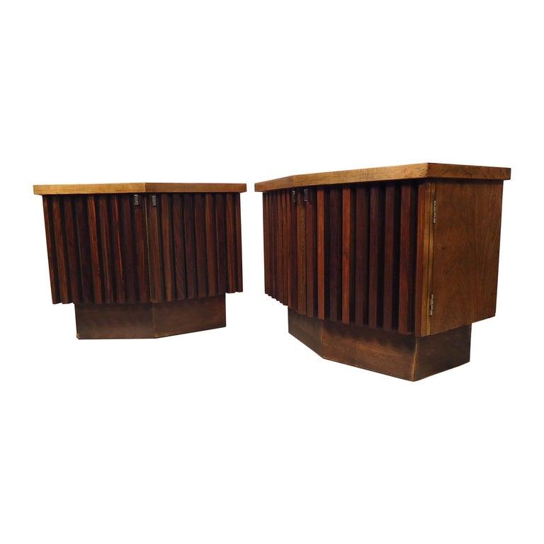 Vintage Modern Bowed Front Nightstands For Sale