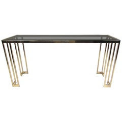 Vintage Modern Brass Finish Console Table