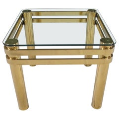Vintage Modern Brass & Glass Side End Table with Glass Top Style Pace or Springe