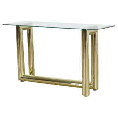 Vintage Modern Brass Plate Console Sofa Table Glass Top 1970