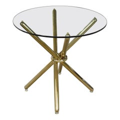 Vintage Modern Brass-Plated Jax Center or End Table with Round Glass Top