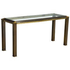 Vintage Modern Brass Step Top Glass Insert Console Table