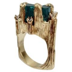 Vintage Modern Brutalist Chatham Emerald, Diamond & 14 Karat Gold Cocktail Ring