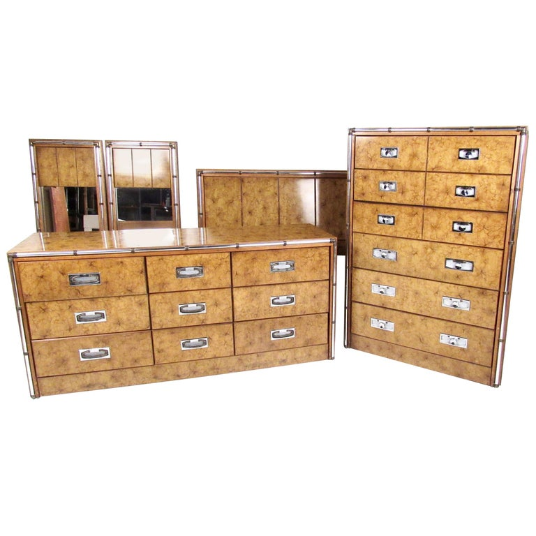 Vintage Modern Burl and Burlwood Bedroom Suite with Dressers and Queen Bed For Sale