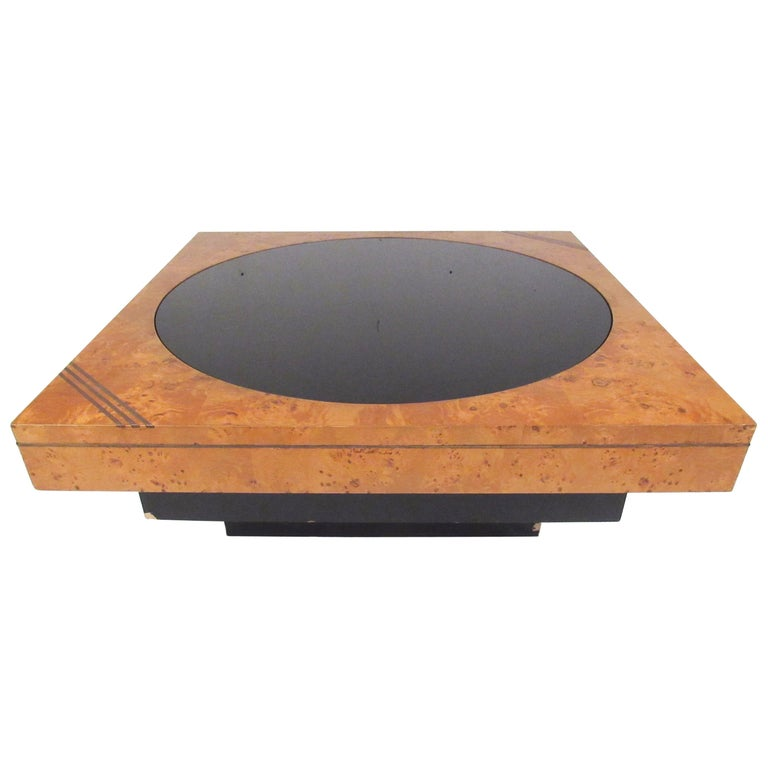 Lane Burl Wood Coffee Table: Vintage Modern Burl, Brass, And Glass Coffee Table By Lane