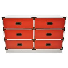 Vintage Modern Campaign Style Red White Formica Hollywood Regency Dresser Chest